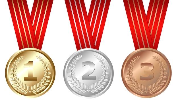 Gold-, silber-, bronzemedaillen, auf weiß Premium Vektoren