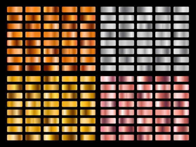 Gold-, silber-, rosa-, orange-metall-farbverlaufssammlung und goldfolien-textur-set. Premium Vektoren
