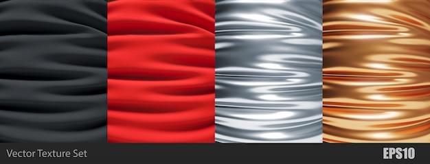 Gold, silber, rot und schwarz satin seidiges tuch, stoff textil drapieren mit knickfalten. mit sanften wellen und falten, die im wind winken. satz realistischer texturen Premium Vektoren