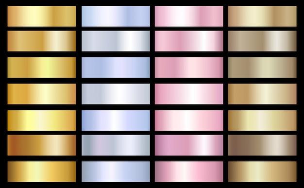 Gold, silber und bronze farbverläufe vorlage. vektor metallischer effekt Premium Vektoren