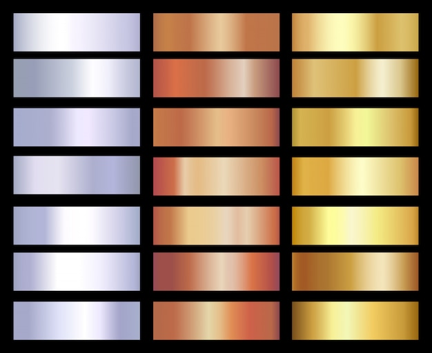 Gold, silber und bronze farbverläufe vorlagensatz Premium Vektoren