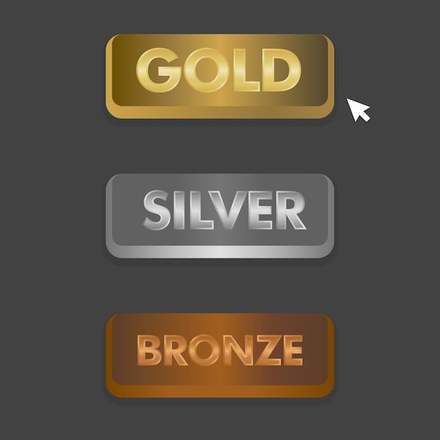 Gold silber und bronze schaltflächen mit mausklick symbol vektor-illustration eingestellt. Premium Vektoren