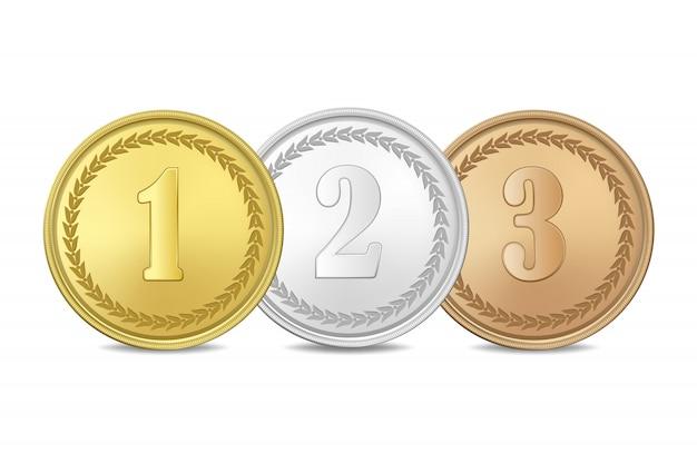 Gold-, silber- und bronzemedaillen auf weißem hintergrund. der erste, zweite, dritte preis. Premium Vektoren
