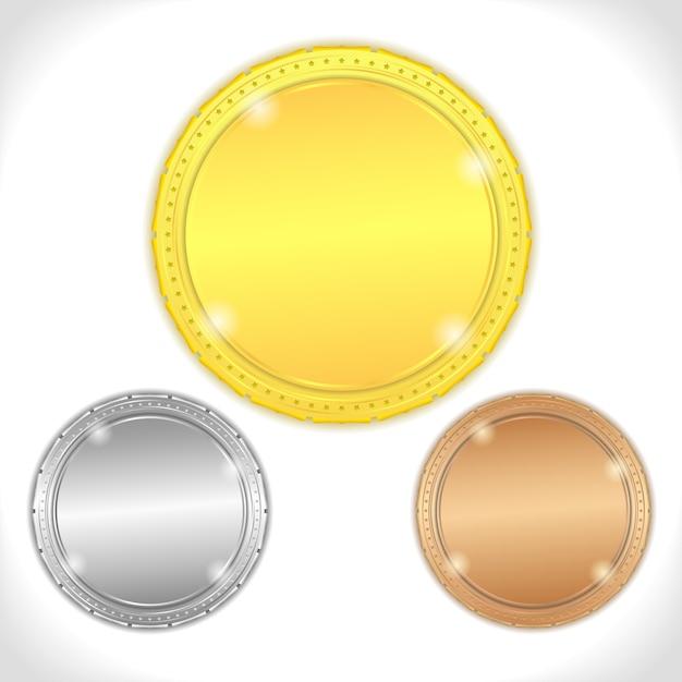 Gold-, silber- und bronzemedaillen Premium Vektoren