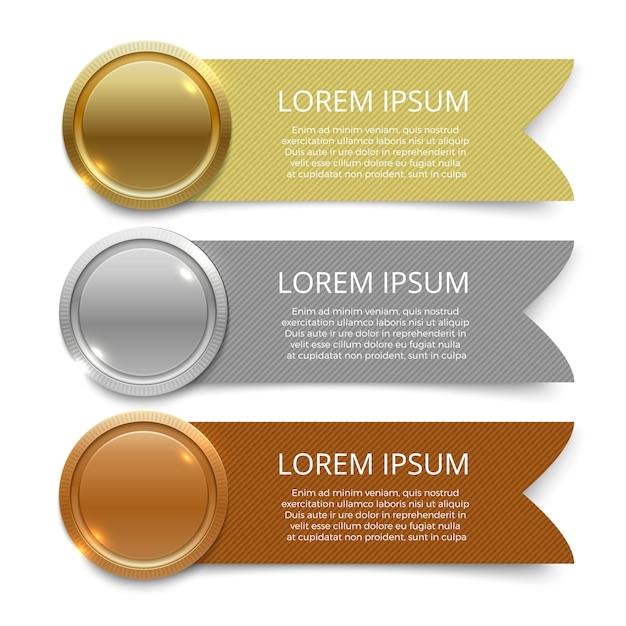Gold-, silber- und bronzemedaillenfahnen-schablonendesign Premium Vektoren