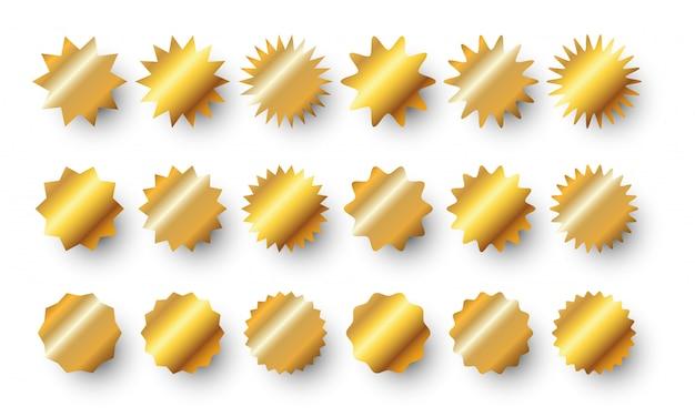 Gold sunburst abzeichen gesetzt. golden sale sale aufkleber oder burst rays preisschild sammlung. Premium Vektoren