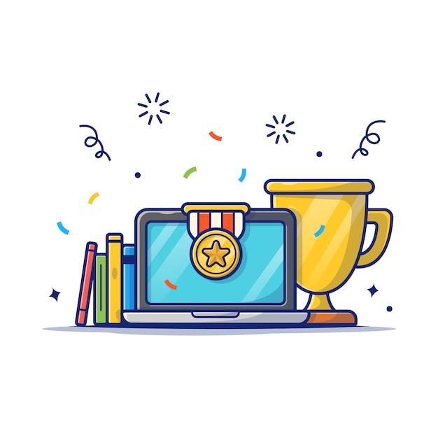 Gold trophy, buch und laptop-symbol. bildungsleistung, stipendien-ikonen-weiß lokalisiert Premium Vektoren