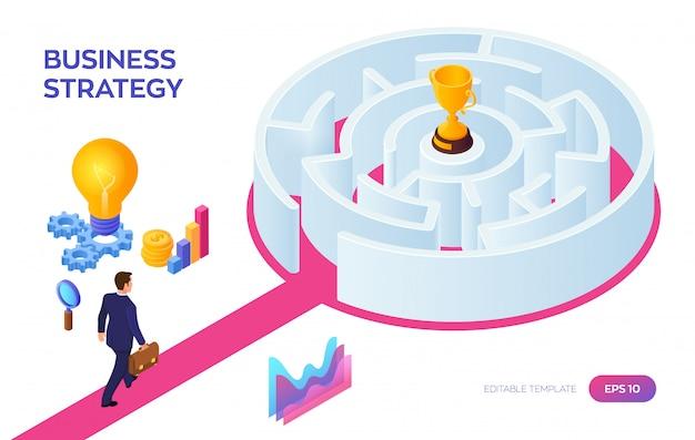 Gold trophy cup des gewinners im labyrinth. geschäftsmann, der zum erfolg durch das labyrinth geht. Premium Vektoren
