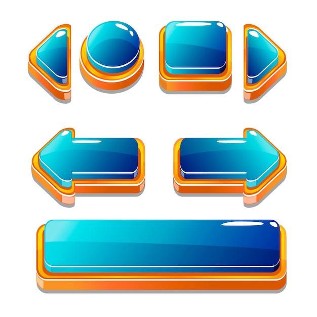 Gold und blu buttons für spiel Premium Vektoren