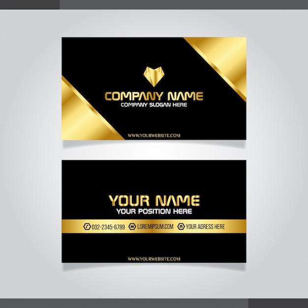 Gold und schwarze moderne kreative visitenkarte und namenskarte Premium Vektoren