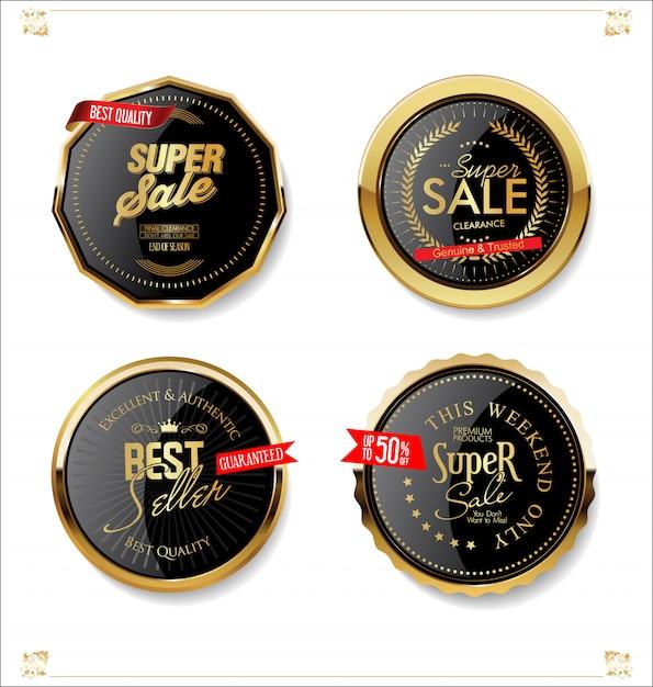 Gold und schwarze retro- verkaufsabzeichen und aufklebersammlung Premium Vektoren