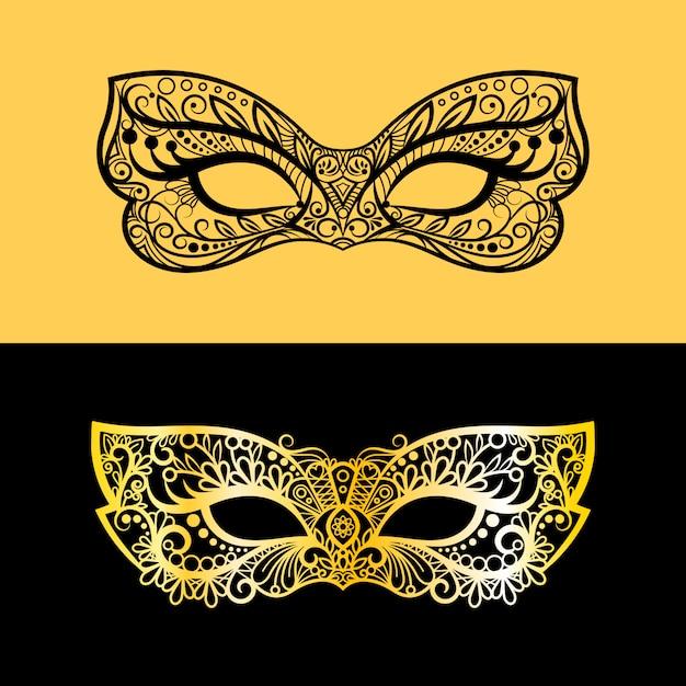 Gold und schwarze spitzenmaske Premium Vektoren