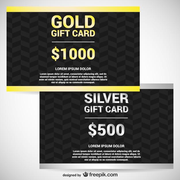 Gold und silber geschenkkarten Kostenlosen Vektoren