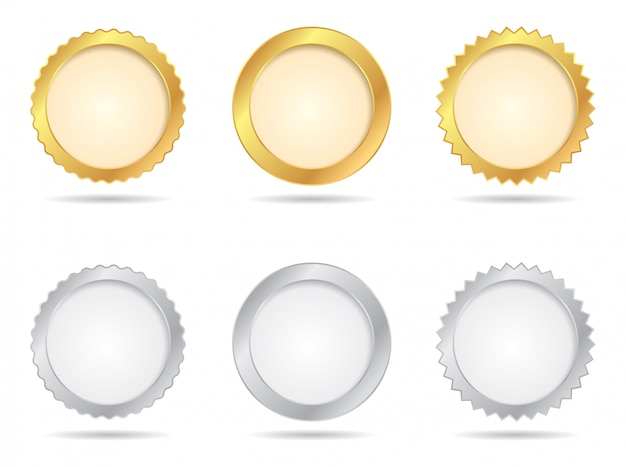 Gold- und silbersiegel-sets Premium Vektoren