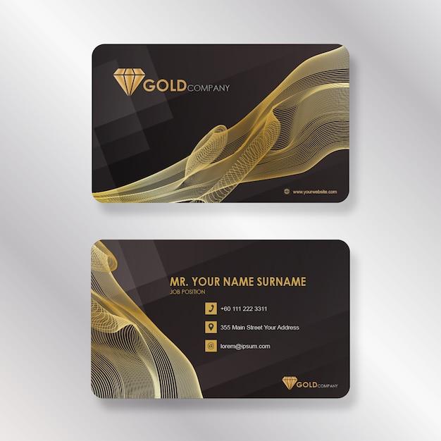 Gold Unternehmens Visitenkarte Mit Rauch Linie Stil