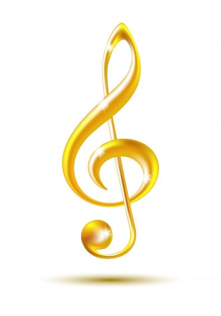 Gold violinschlüssel Premium Vektoren