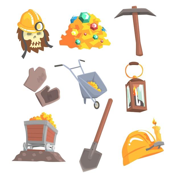 Goldabbau, eingestellt für. bergbaumaschinen, wilder westen. bunte karikatur detaillierte illustrationen Premium Vektoren