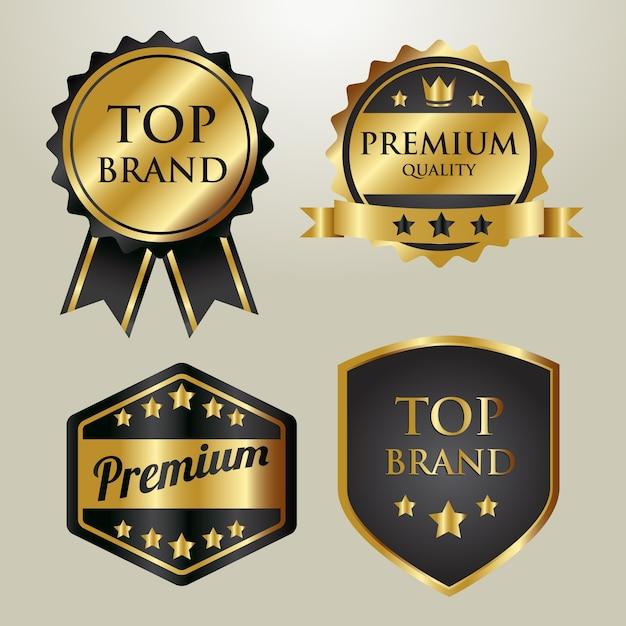 Goldabzeichen-top-marke Premium Vektoren