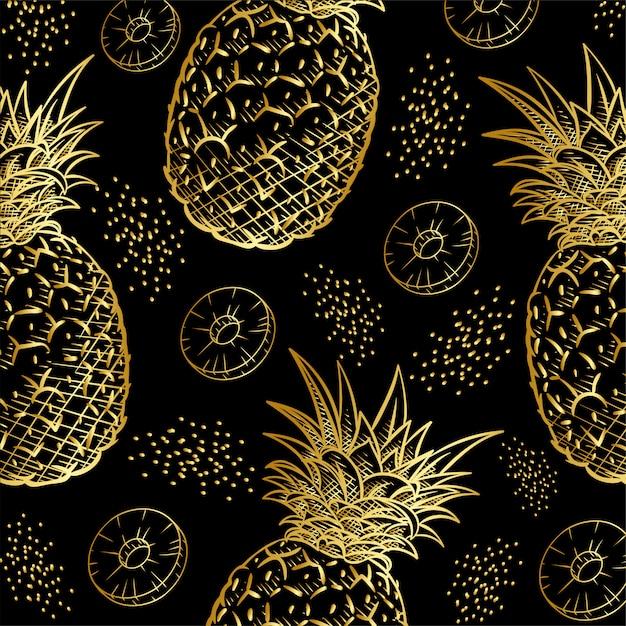Goldananasfrucht-druckmuster Premium Vektoren