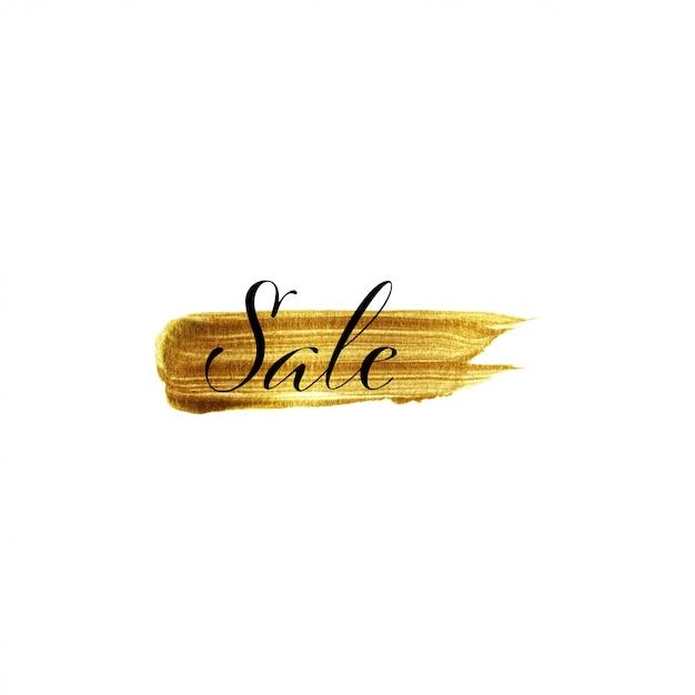 Goldbürstenanschlaghand gezeichnet und text verkauf Premium Vektoren
