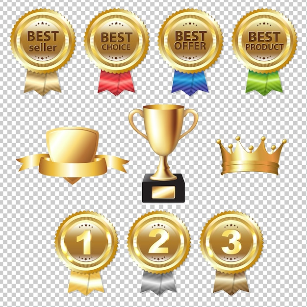 Golden awards gradient mesh, illustration Premium Vektoren