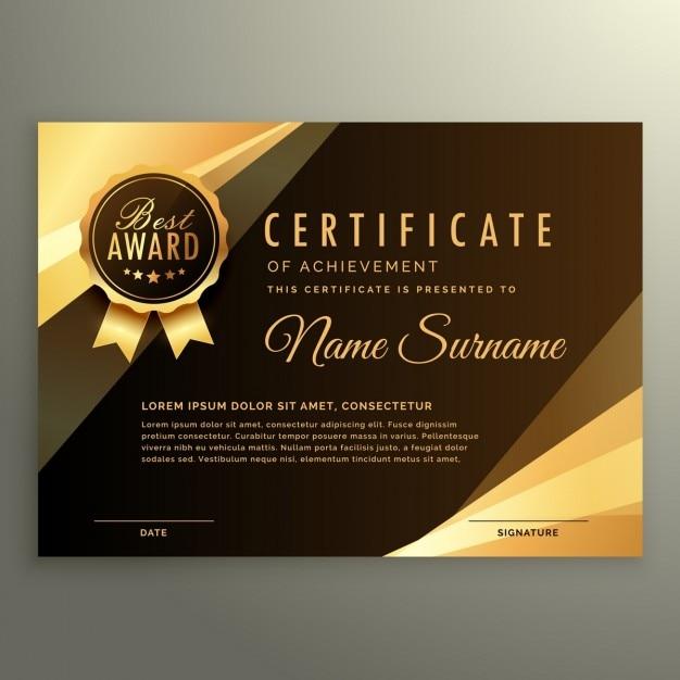Golden diplom-zertifikat mit auszeichnung symbol Kostenlosen Vektoren
