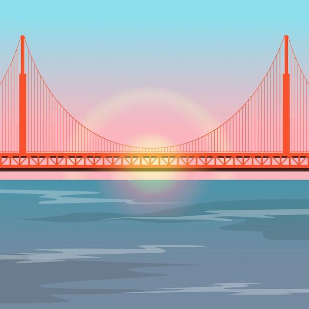 Golden gate bridge gegen die untergehende sonne Premium Vektoren