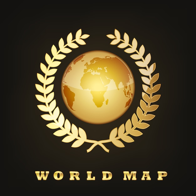 Golden globe earth. illustration Premium Vektoren