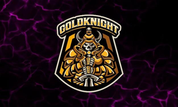 Golden knight awesome maskottchen esport logo vorlage Premium Vektoren