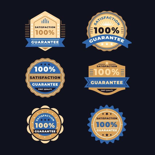 Golden mit blauem band 100% garantie etikettenkollektion Premium Vektoren