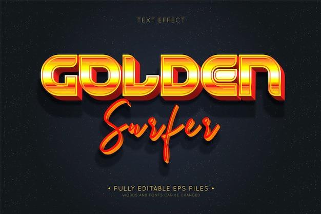Golden surfer text effectret Kostenlosen Vektoren