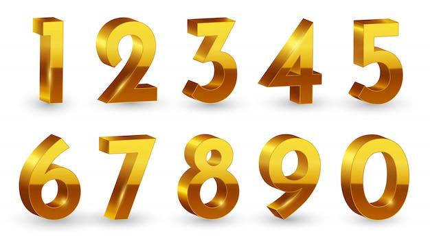 Goldene 3d zahlen festgelegt Premium Vektoren