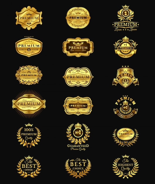 Goldene abzeichen, aufkleber premium-qualität isoliert auf schwarz Kostenlosen Vektoren