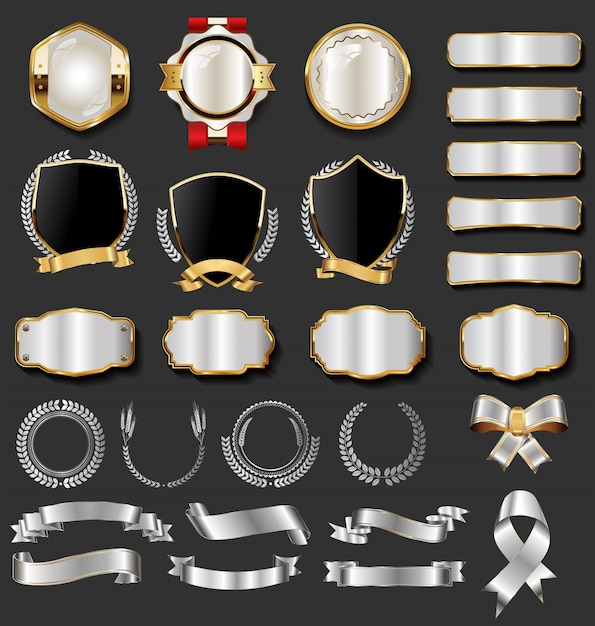 Goldene abzeichen der retro weinlese und aufklebersammlung Premium Vektoren