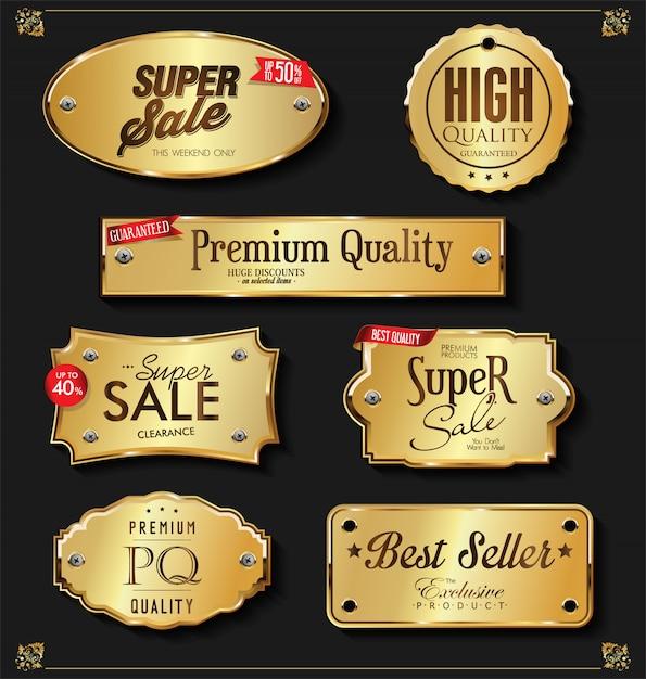 Goldene abzeichen der retro- weinlese und aufklebersammlung Premium Vektoren