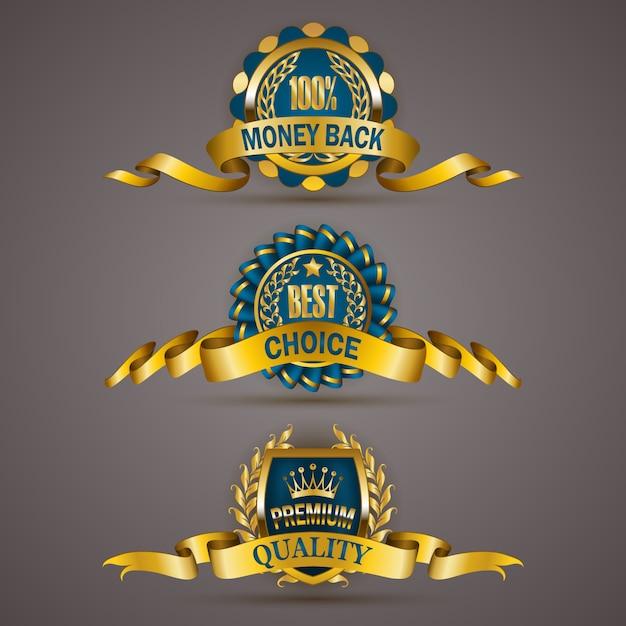 Goldene abzeichen mit lorbeerkranz Premium Vektoren