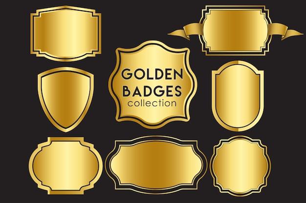 Goldene abzeichen sammlung Premium Vektoren