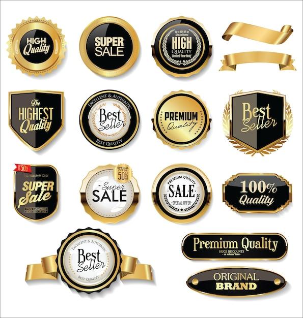 Goldene abzeichen und etiketten Premium Vektoren