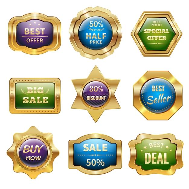 Goldene abzeichen Kostenlosen Vektoren