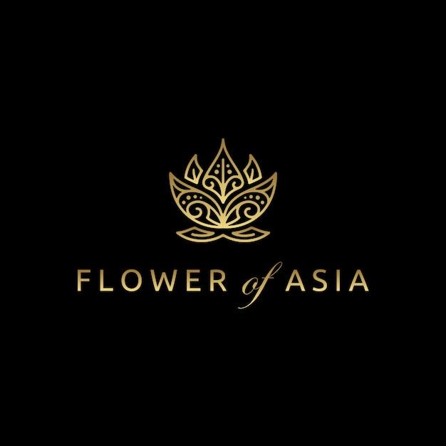 Goldene asiatische lotus flower logo design Premium Vektoren