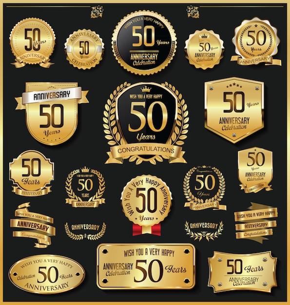 Goldene ausweise und aufkleber des jahrestags retro- weinlese Premium Vektoren