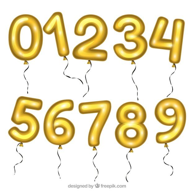 Goldene ballon nummer sammlung Kostenlosen Vektoren