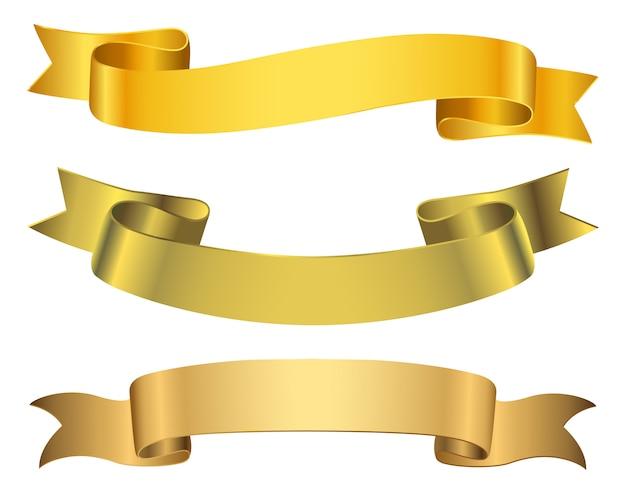 Goldene bandfahnen eingestellt Premium Vektoren