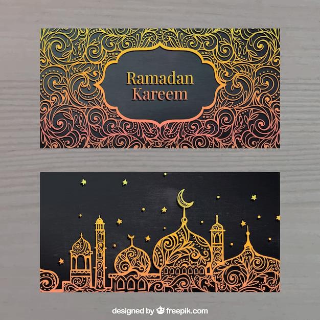 Goldene Banner von ramadan kareem Kostenlose Vektoren