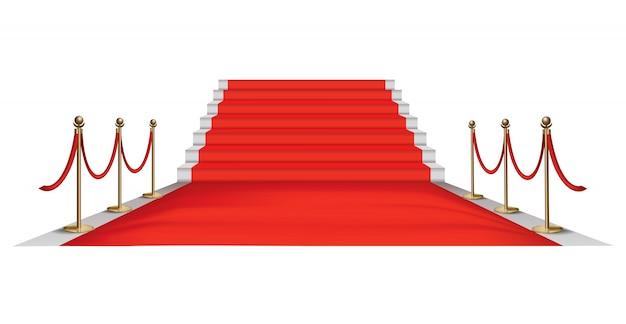 Goldene barrieren des roten teppichs. exklusive veranstaltung. roter teppich mit roten seilen und goldenen rungen Premium Vektoren