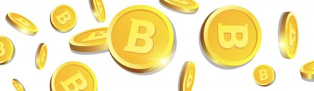 Goldene bitcoins 3d, die über weißen hintergrund fliegen, münzen mit cryptocurrency-zeichen-horizontaler fahne Premium Vektoren