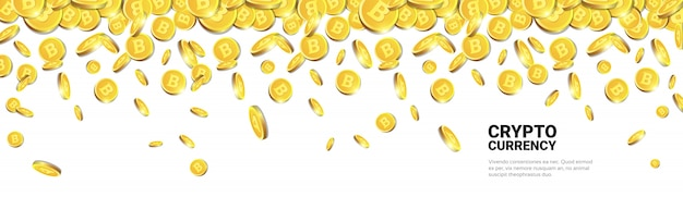 Goldene bitcoins, die über weißen schablonen-hintergrund mit kopienraum fliegen realistische münzen 3d mit cryptocurrency-zeichen Premium Vektoren