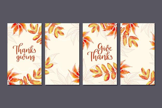 Goldene blätter hand gezeichnet thanksgiving instagram geschichten Kostenlosen Vektoren
