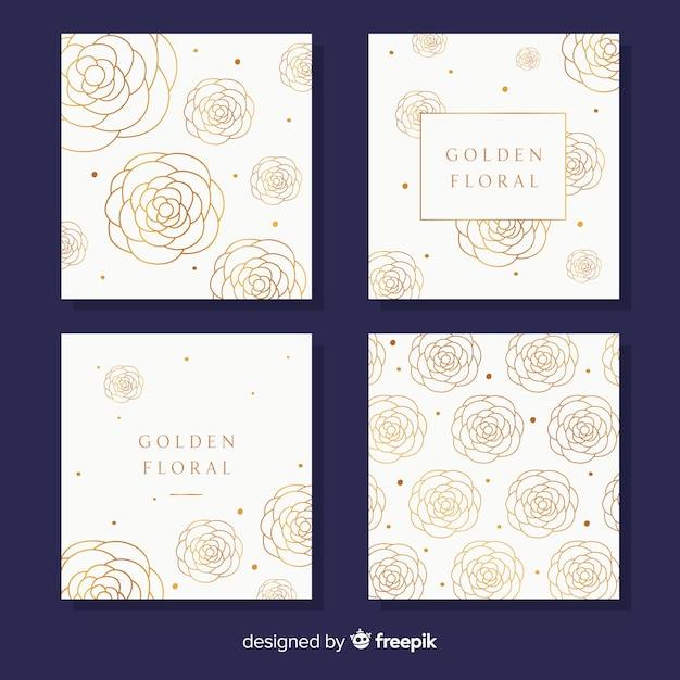 Goldene blumenkartensammlung Kostenlosen Vektoren