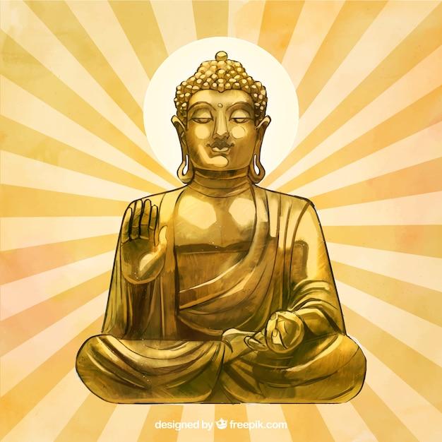 Goldene budha statue mit hand gezeichneter art Kostenlosen Vektoren